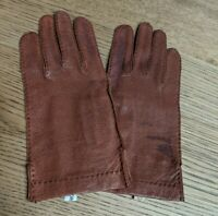 Women's Brown Gloves Genuine Pigskin Leather Extra Fine Quality Lining Size 6.5