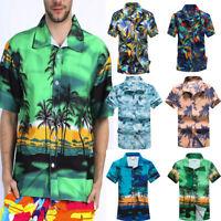 Men Hawaiian Print Short Sleeve T-Shirt Casual Button-Down Sports Beach Blouse B