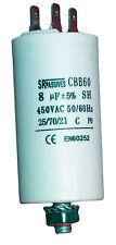 Condensateur moteur de démarrage / permanent 8µF 8uF 450V à cosses + vis CBB60