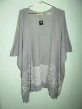 NEW Hollister Juniors Gray Fair Isle Print Open Front Poncho Sweater Size M/L