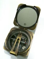 Reproduction Antique Nautical Brass Ship Compass w/ Wood Case