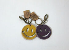 2 Leather Key Chains Retro Smiley Faces Purple & Yellow New With Tags