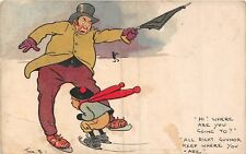 POSTCARD  COMIC   TOM  BROWNE   JOLLY  SKATERS   Where  are  you  going to ?
