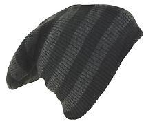 "D&Y Men's Long Beanie Two Tone Stripe Coordinate Knit Hat 12"" Gray Black"