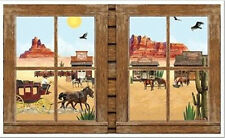 WESTERN TOWN Scene Setter wall decoration scenic window Wild West stagecoach