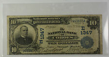 1902 Date Back $10 National Currency Banknote Cohoes New York Charter # E 1347