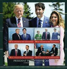 ST. VINCENT GRE 2018 PRESIDENT TRUMP VISITS CANADA SHEET MINT NH
