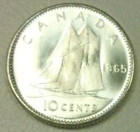 Brilliant UNC 1965 Canadian Silver Dime from original Royal Bank of Canada roll