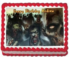 Zombie Party Edible Cake Topper Icing Image 1/4 sheet Personalized Decoration