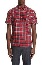BURBERRY Men's Alexander Check Print Short Sleeve Cotton Sport Shirt in Red L