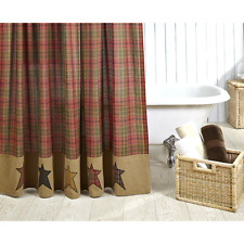 NEW !!! Primitive Country Rustic Farmhouse STRATON Plaid & Stars Shower Curtain