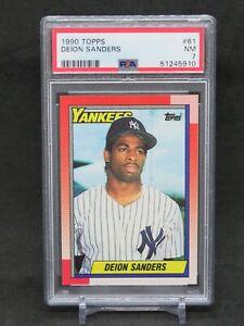 1990 TOPPS DEION SANDERS #61 PSA 7 NEW YORK YANKEES EB