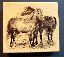 P4 Horses rubber stamp WM