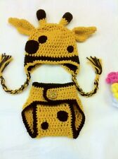 Hand Crochet  Baby Giraffe Photo prop Diaper Cover and Hat - NEW