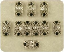 2 Hole Beads Marcasite Tablets Jet Black Clear Swarovski Crystal Elements QTY 10