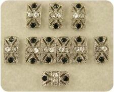 2 Hole Beads Marcasite Tablets Jet Black Clear Swarovski Crystal Elements QTY 10