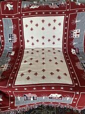 """Woven Tapestry Throw Blanket 48"""" x 64"""" Schoolhouse And Flowers"""