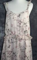 Leith Women's Ruffle Sleeveless Straps Scooped Neck Pink Floral  Size XXL
