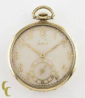 Elgin Crusader Open Face 14k Yellow Gold Antique Pocket Watch 12S 17J 1925