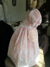Peachy pink child's dress embroidered chiffon over cotton size 3-4