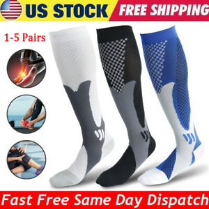 1-5 Pair Compression Socks 20-30mmHg Graduated Pain Relief Calf Leg Foot Support