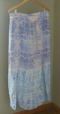 Maeve Anthropologie Silk Waimea Maxi Skirt Large Blue Watercolor Side Slit