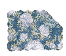 CAPE CORAL Quilted Reversible Placemat by C&F - Coastal, Seashells - Indigo