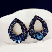 Delicate Womens Blue Rhinestone Crystal Waterdrop Earrings Eardrops Ear Studs