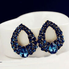 Delicate Womens Blue Rhinestone Crystal Waterdrop Earrings Eardrops Ear Studs