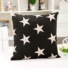 1x Vintage Black Stars Pillow Cover Composite Linen Fashion Cushion Case 42x42cm