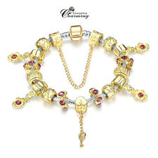 Awesome 18K Plated Gold Silver Charm European Bead Key Pandent Bangle Bracelet