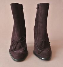 Women's Tod's Ankle Suede Boots Zip Side Purple Size 6.5