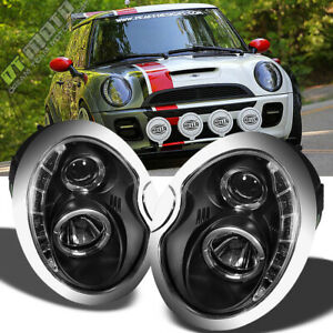 Black 2002-2006 Mini Cooper Projector Headlights w/DRL LED Daytime Running Lamps