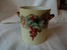 Condensed Milk Jar Jam handle cup Limoges Gda France Hand Painted Currants Grape