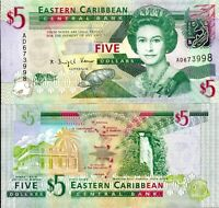 Eastern East Caribbean 2008, 5 Dollars - QEII , Banknote UNC