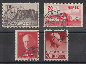 Norway Sc B1/B27 used 1930-1942 issues, 4 different Semi-Postals, F-VF