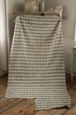 Antique French indigo check fabric old early timeworn mended darns blue mends
