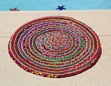 TAG LTD handwoven chindi round jute rug colorful purple pink dish mat area mini