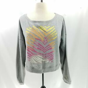 Victoria's Secret PINK S Pullover Sweatshirt Animal Tiger Print Slouchy Cropped