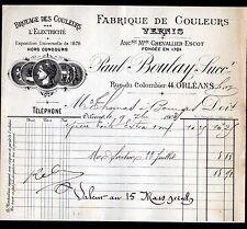 """ORLEANS (45) COULEURS & VERNIS """"CHEVALLIER-ESCOT / Paul BOULAY Succ"""" en 1903"""