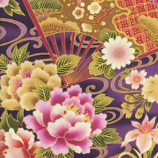 FANS & FLORALS: Purple Asian Japanese Quilt Cotton Fabric - By the Yard