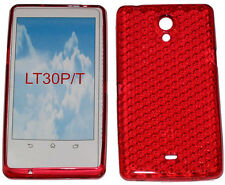 Pattern Soft Gel Rubber Case Protector Cover For Sony Xperia T LT30P LT30i Red
