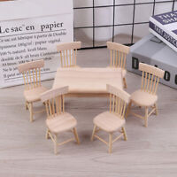 1:12 Dollhouse Miniature Furniture Wooden Dining Table with 6 Chair Model  AU..