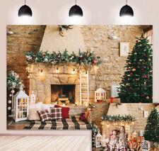 Christmas Retro Fireplace Backdrop Brick Wall  Xmas Tree Xmas Party Background
