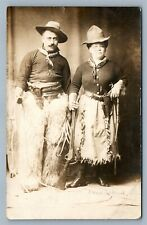 COWBOY & COWGIRL w/ RIFLE PISTOLS LASSO 1911 ANTIQUE REAL PHOTO POSTCARD RPPC