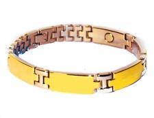 Mens Magnetic Link Bracelet Gold Tone Metal Pain Therapy Bracelets