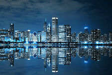 STUNNING CHICAGO CITYSCAPE CANVAS #339 QUALITY WALL ART PICTURE A1