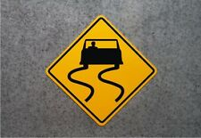 """SLIPPERY WHEN WET ROAD SIGN    /    16"""" X 16"""" ALUMINUM  SAFTEY PLAQUE"""