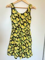 Dangerfield Size 6 Black Yellow Dress Revival Cotton Pockets Banana A-Line