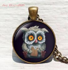 Vintage owl Cabochon Tibetan Bronze Glass Chain Pendant Necklace#T25